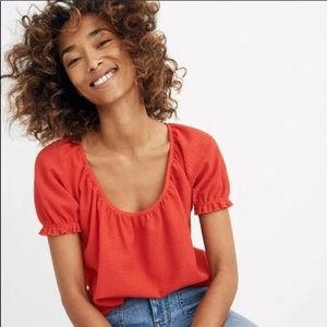 NWOT Madewell Texture and Thread Red Blouse